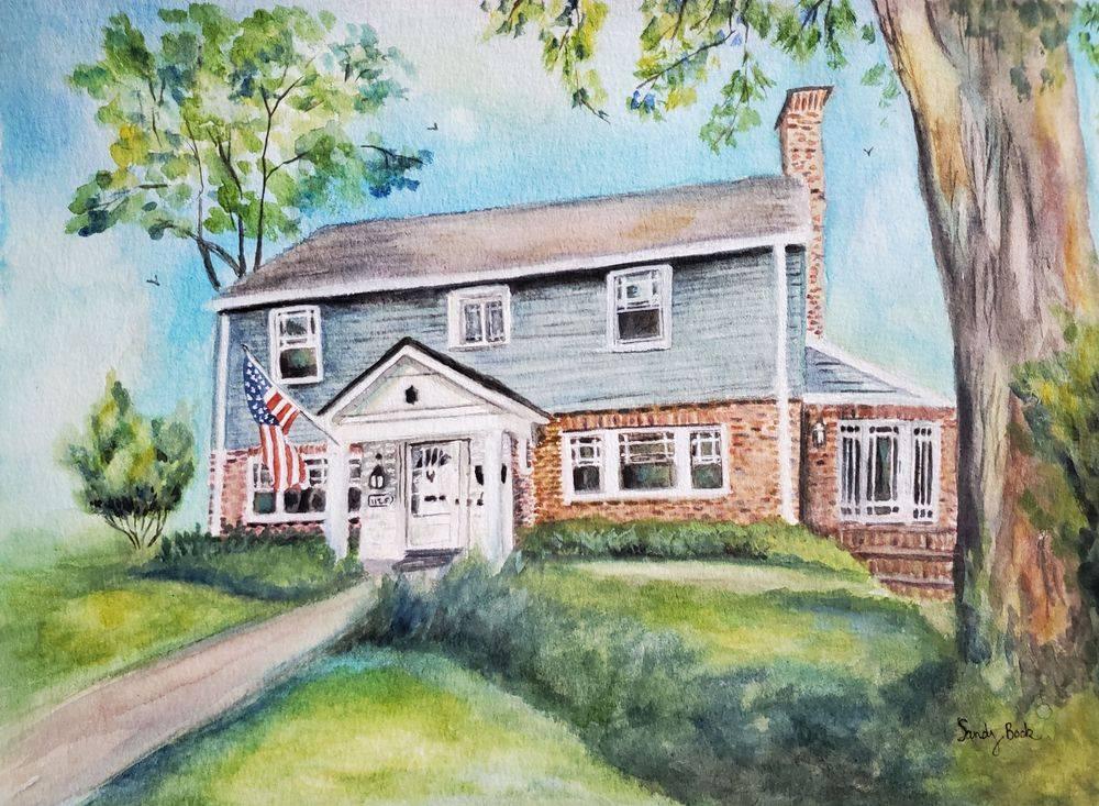 sandy bock, house portrait, portrait artist, portrait art, portrait illustration, custom portrait painting