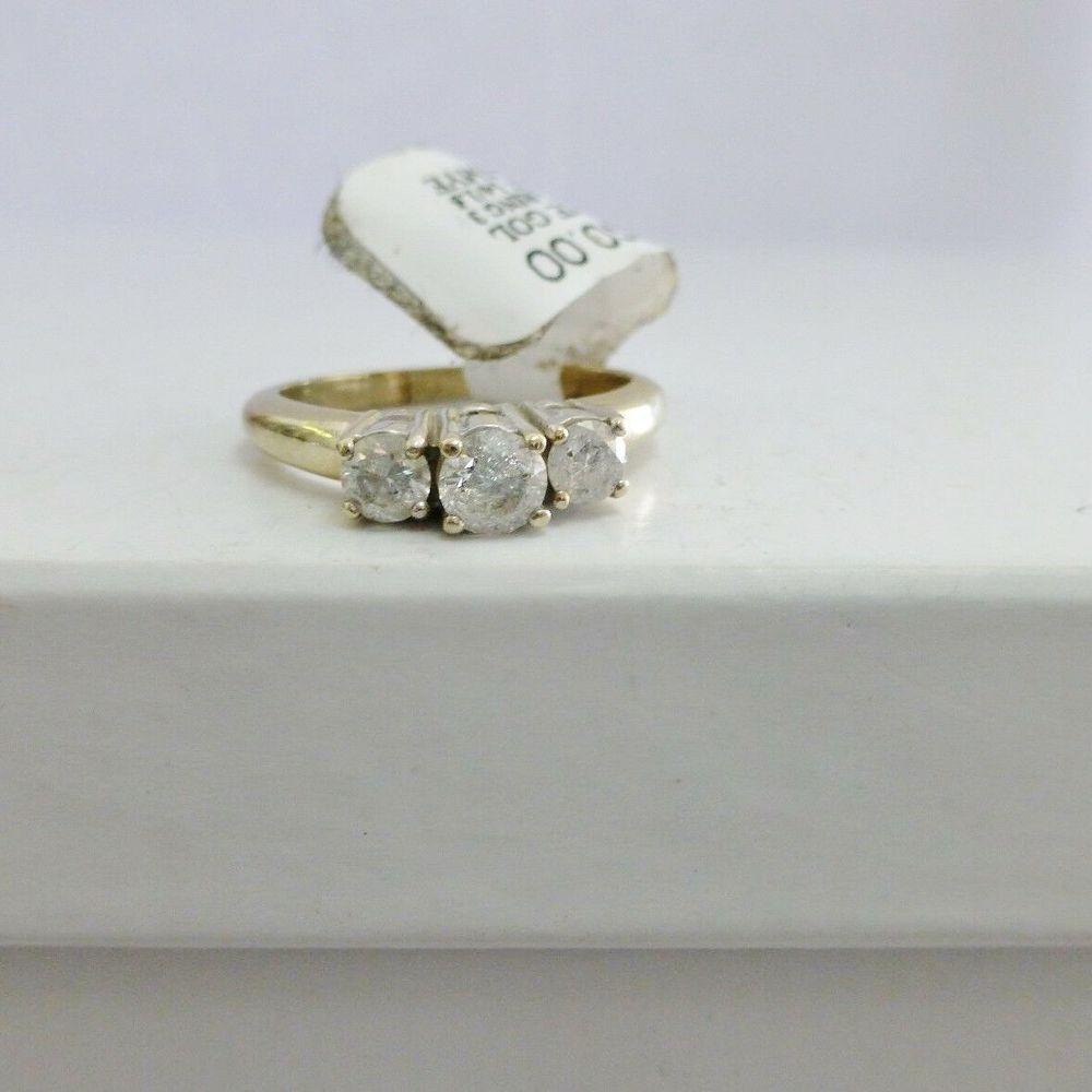 Round Diamond Three Stone Engagement Ring in 14K White Gold
