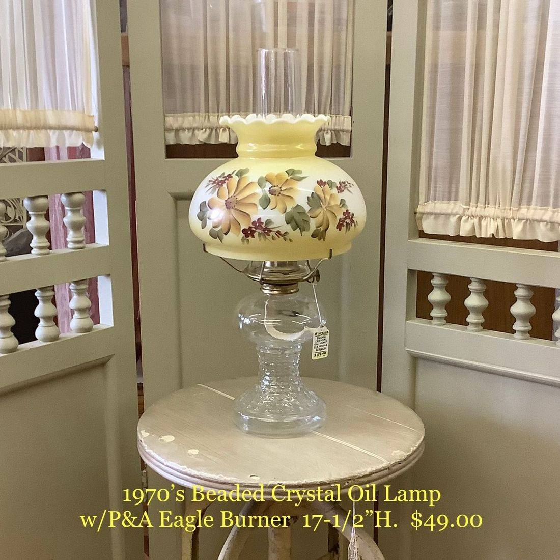 "1970's Beaded Crystal Oil Lamp  17-1/2""H.  $49.00"