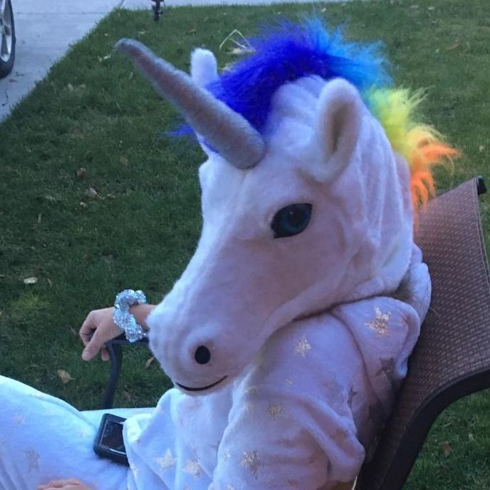Girl dressed as a unicorn princess