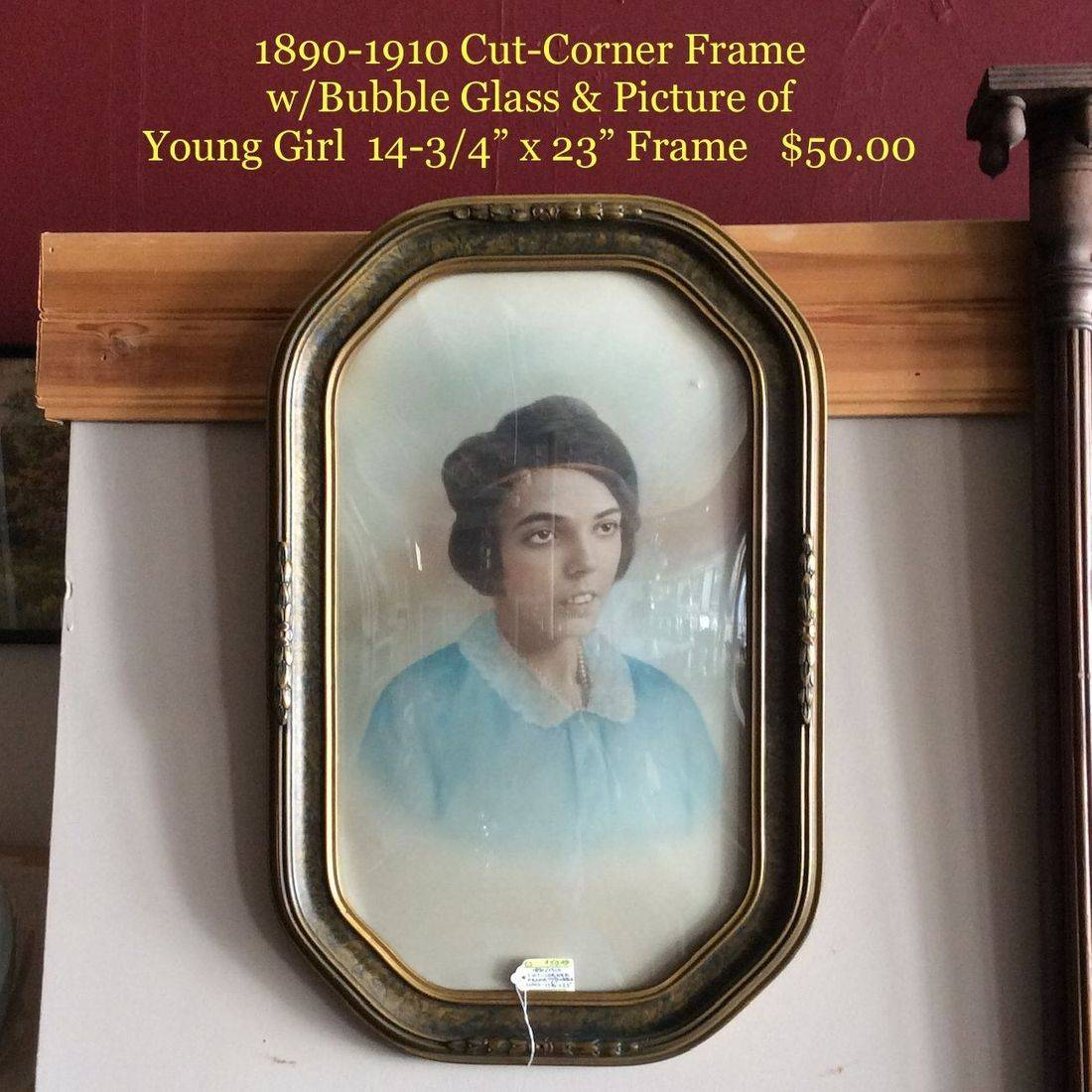 1890 - 1910 Cut-Corner Frame w/Bubble Glass & Picture of Young Girl   $50.00