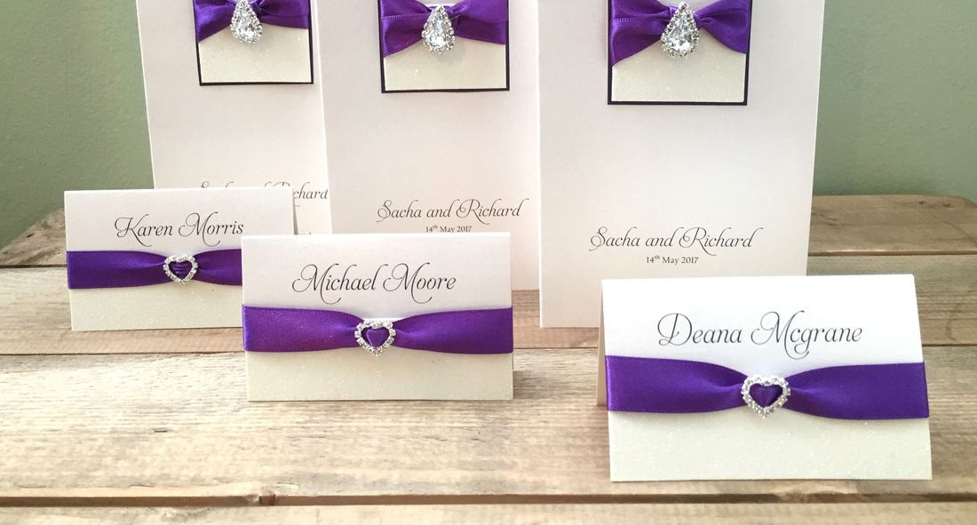 Luxury Place Name Purple and Ivory with heart