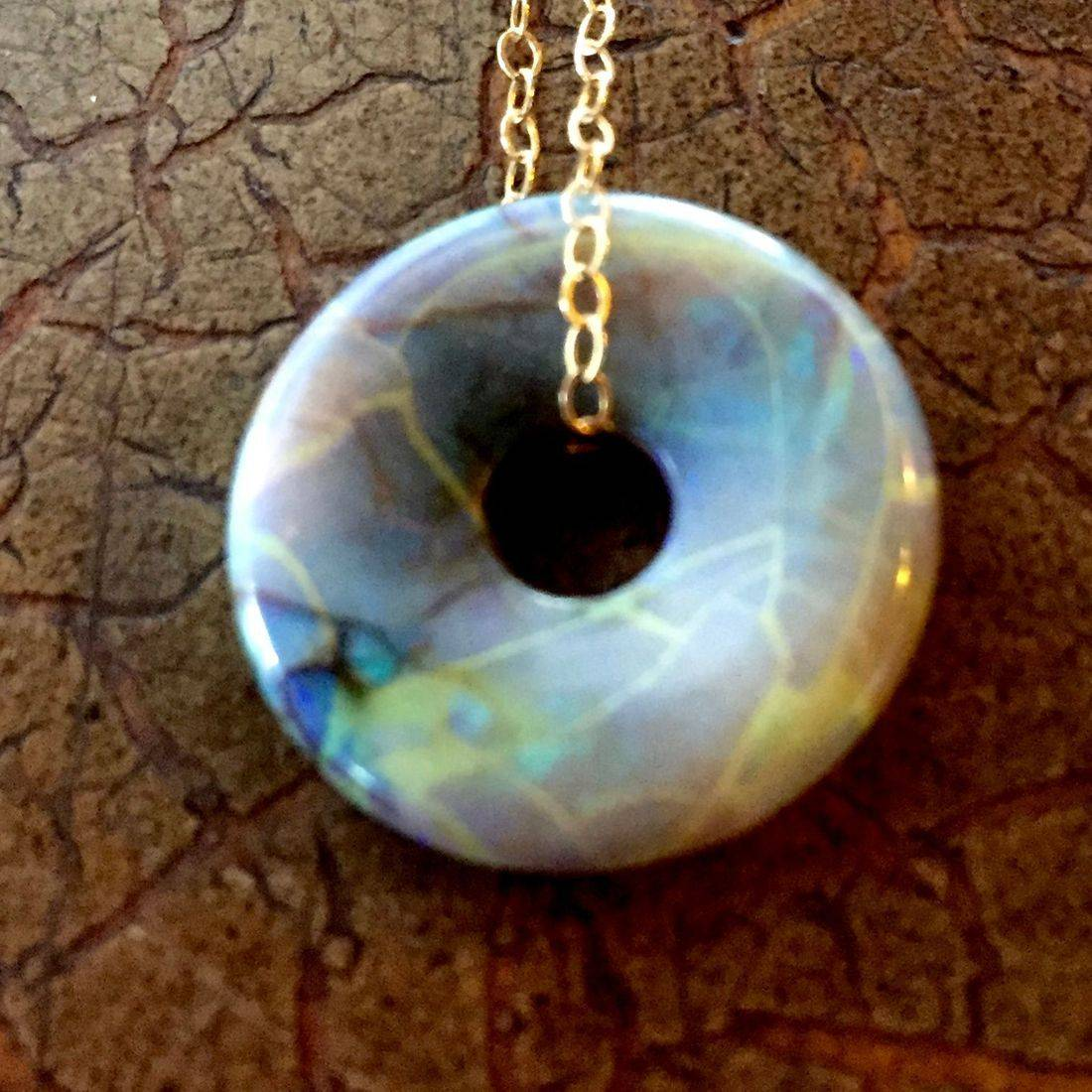 "Cultured Opal Lifesavers 18mm on 17"" 14k gold filled chain $85.00 USD or 117.00 CAD"