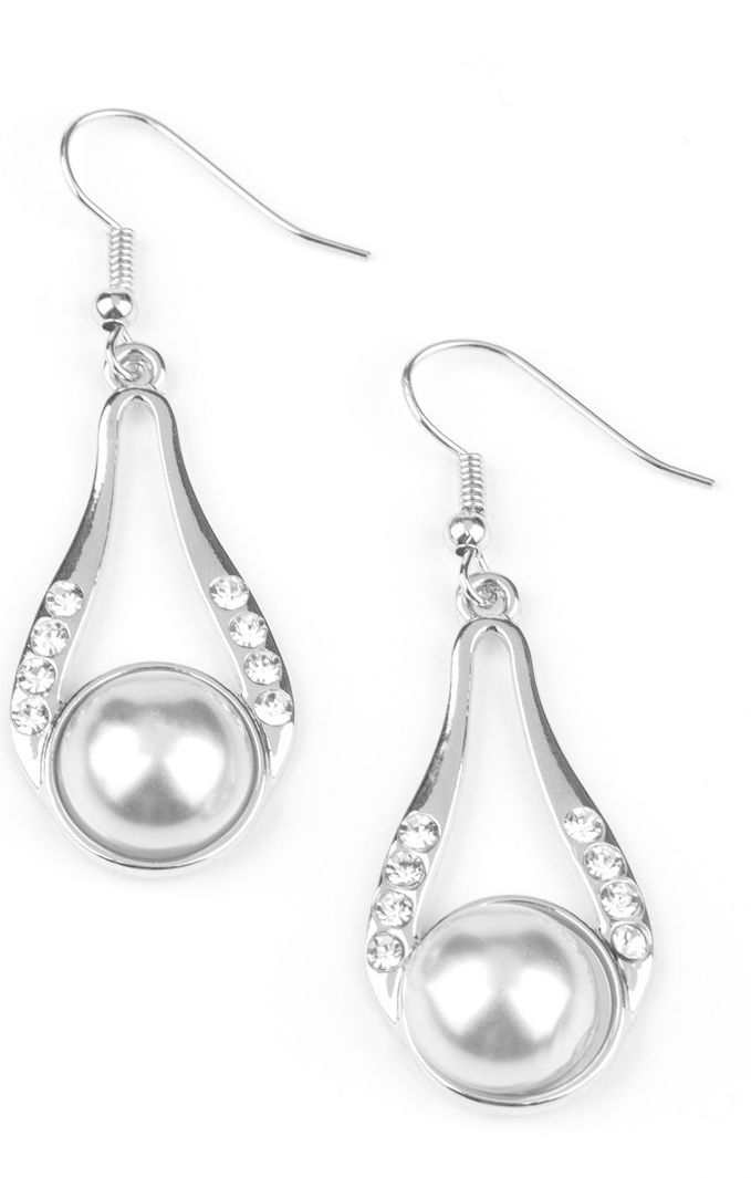 Paparazzi Headliner over heels silver earrings