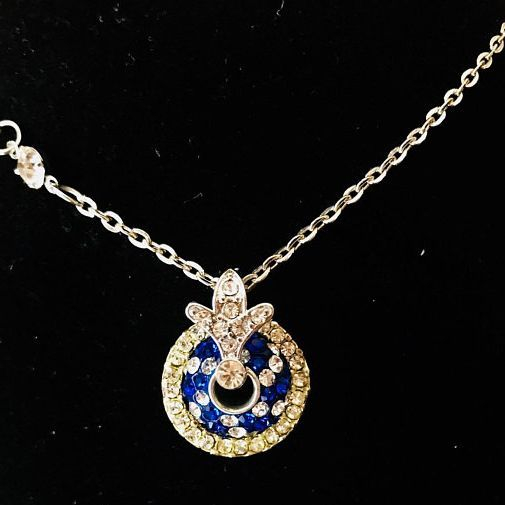 """Blue and White Rhinestone Circled Pendent with Fleur de Lis Bail and Stainless Steel Necklace 18"""""""