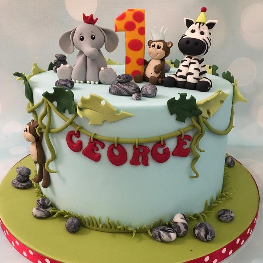 Jungle Birthday Cake Elephant Monkey Party Zebra Vines