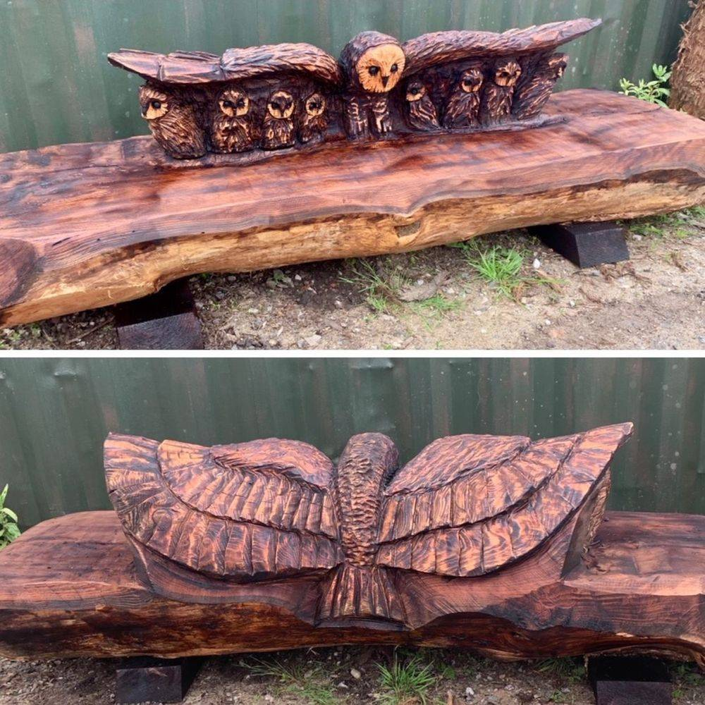 Owl bench Chainsaw Carving, Mike Burgess, Cheshire UK
