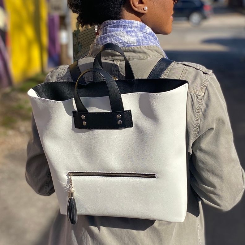 High Quality Vegan Leather Black and White Backpack