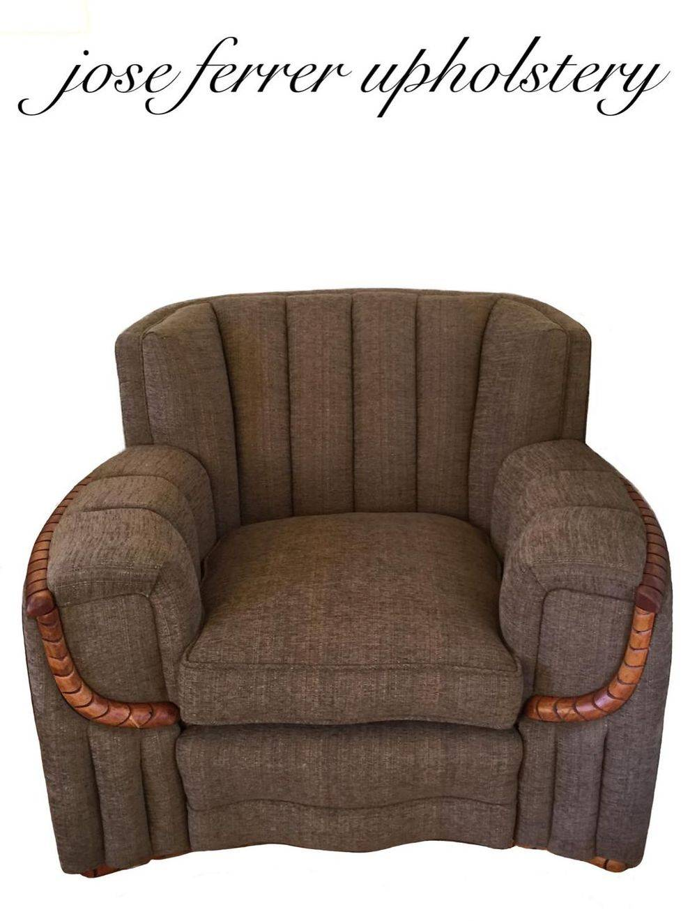 large channel back chair reupholstered in brown fabric  by jose ferrer upholstery in santa rosa ca