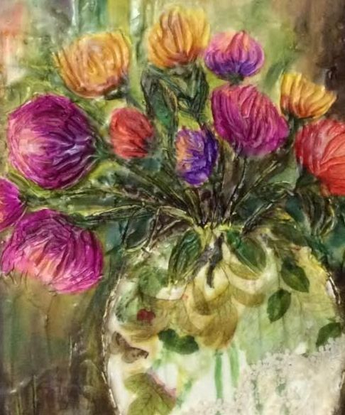 Encaustic collage artwork, encaustic artist, encaustic floral, encaustic botanical, vase of flowers