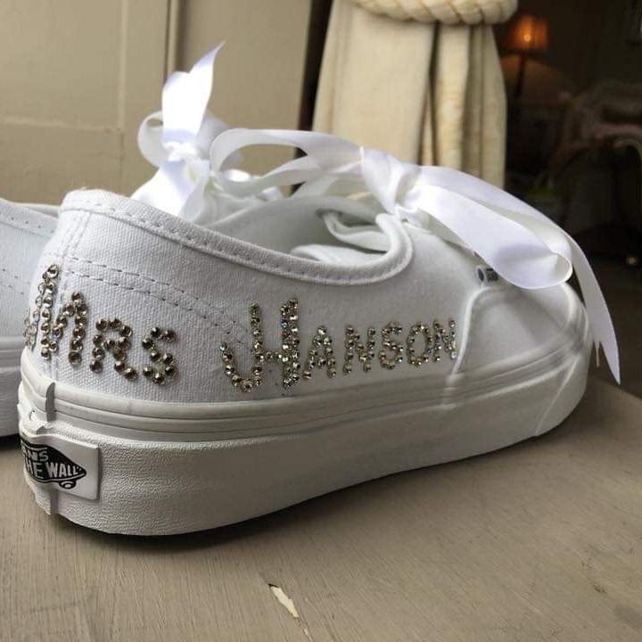 personalised custom trainers vans bridal bride shoes nicky rox