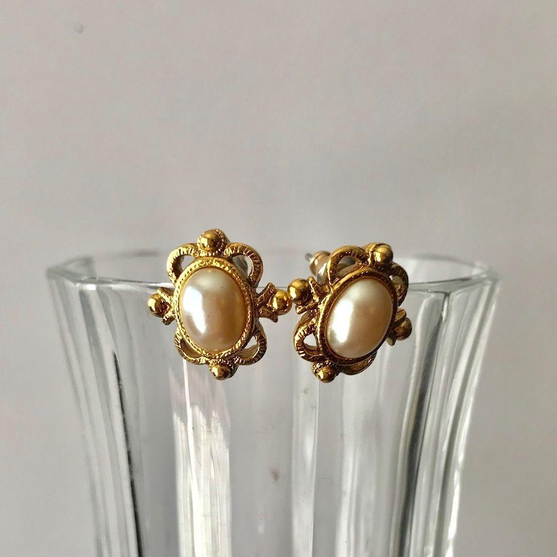 Earrings, Gold Tone, Pearl