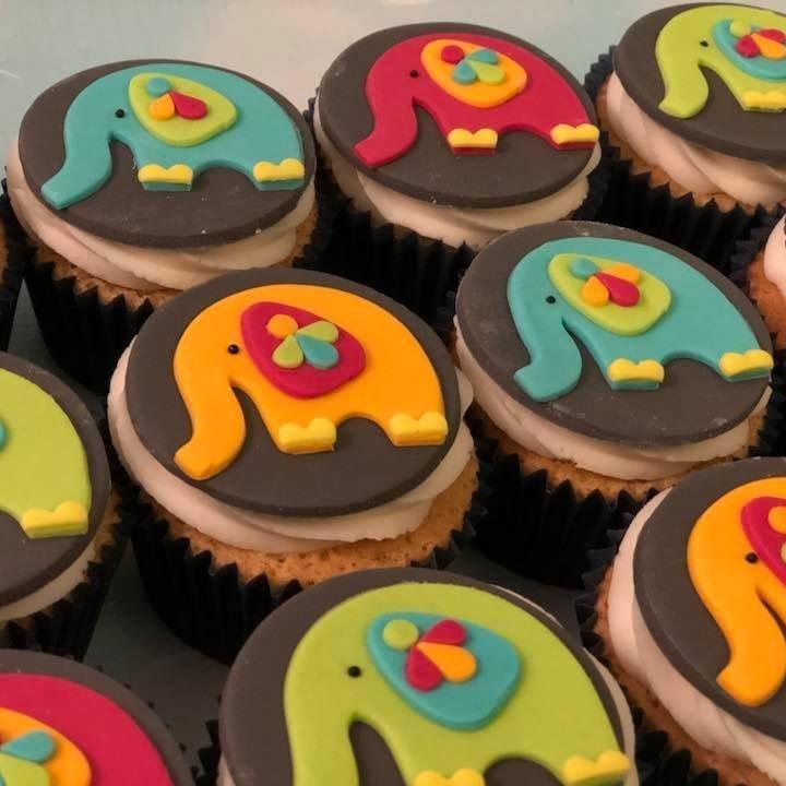 Elephant Birthday Celebration Cupcakes Ethnic Asian Bright Colour