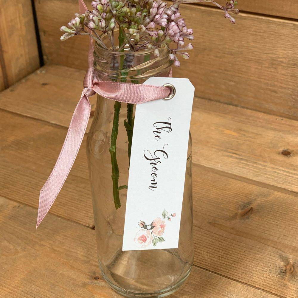 Favour tag with ribbon, White, Sage and Pink