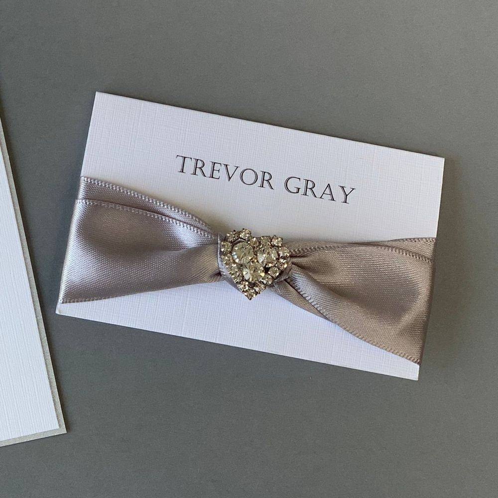 Luxury place name with satin ribbon and crystal heart