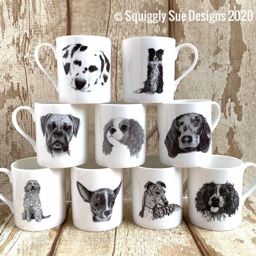 dalmation border collie boxer king charles springer spaniel sausage dachshund cockerpoo chihuahua whippet greyhounddogs bone china mug cup pen & ink sketch