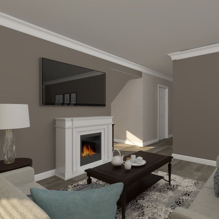 Interior design, living room, transitional, teal & dark taupe