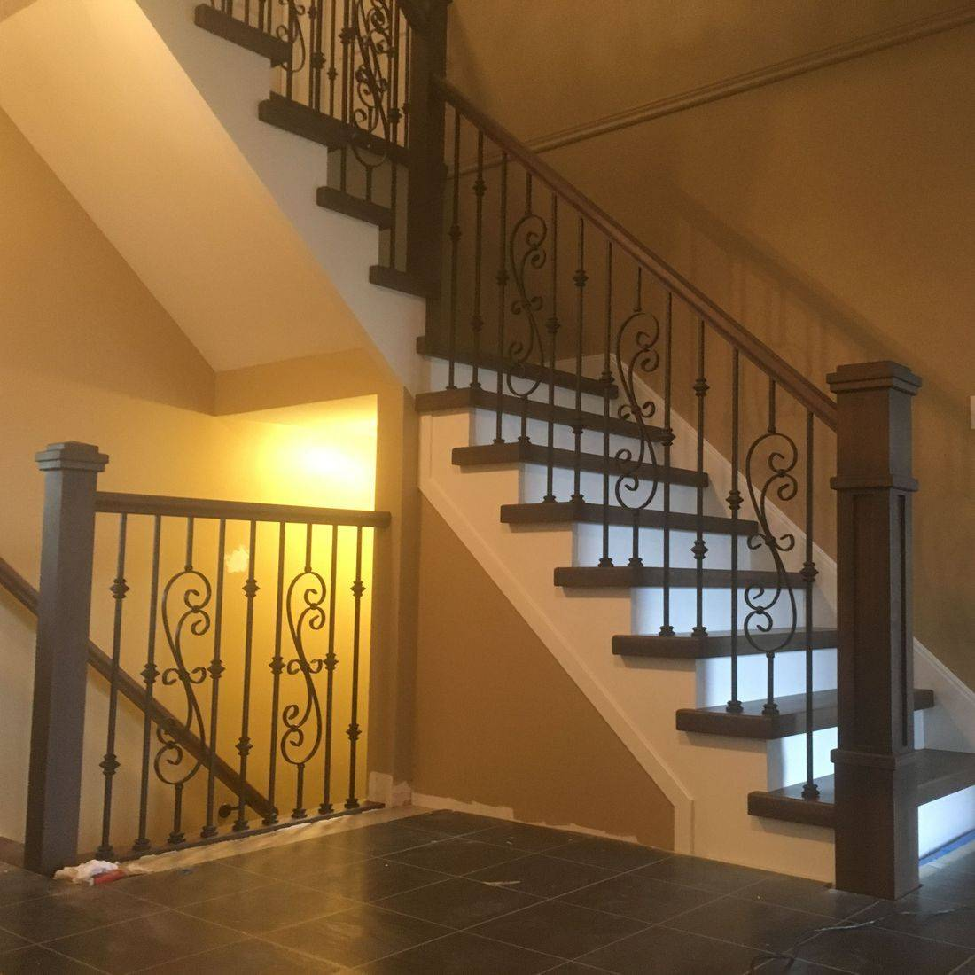 Stained Maple Railing with Decorative Steel Spindles in Cambridge Onatrio