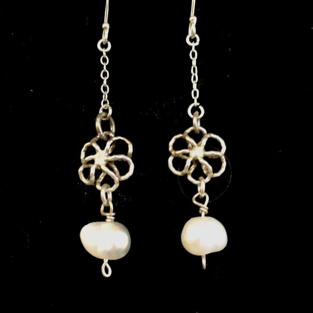 Handmade sterling and pearl earrings on sterling hooks