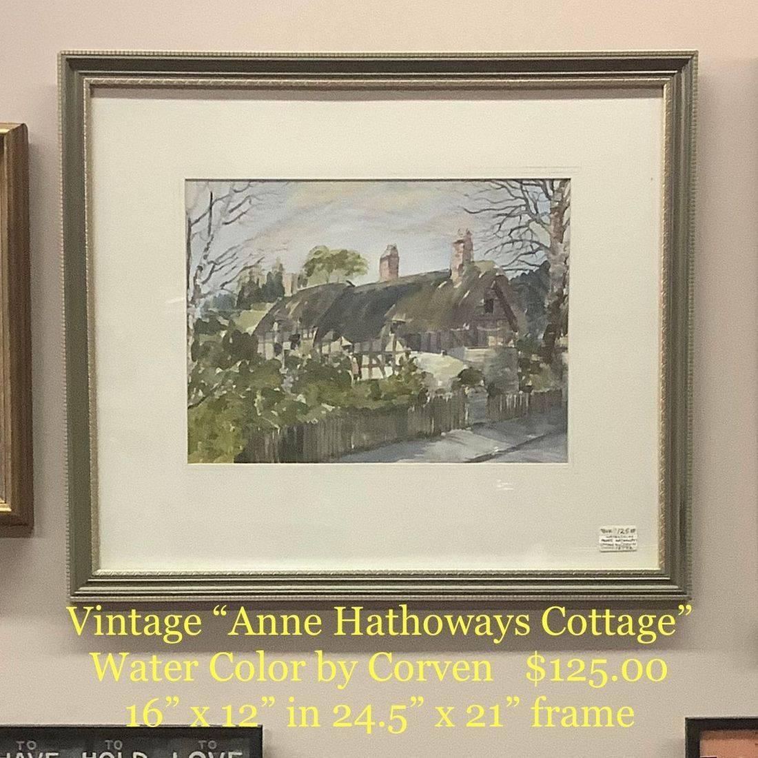 "Watercolor ""Anne Hathoways Cottage"" by  Corven   $125.00"