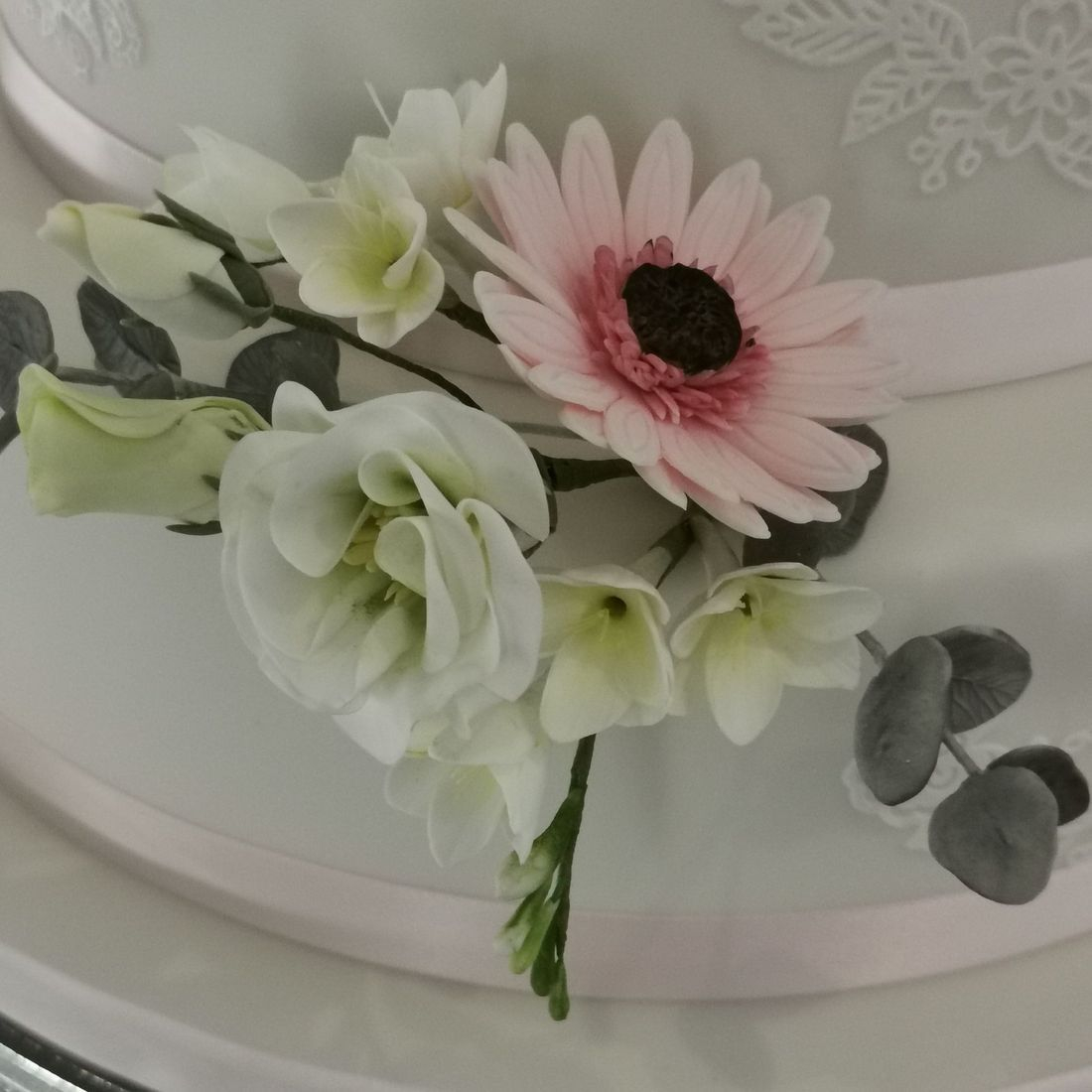Wedding Cake Flowers Handcrafted Gerberas,Lisianthus, Freesia & Eucalyptus