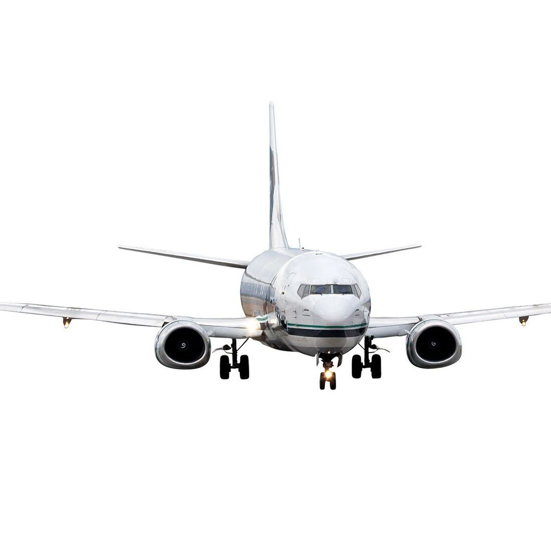 aircraft landing on white background