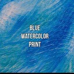 blue watercolor print