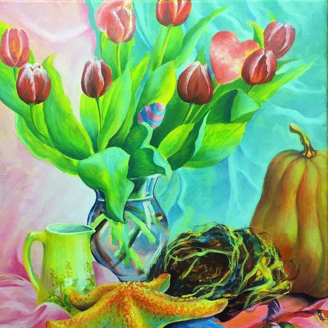 Acrylic paintng  still life canvas by Sandra Louisa