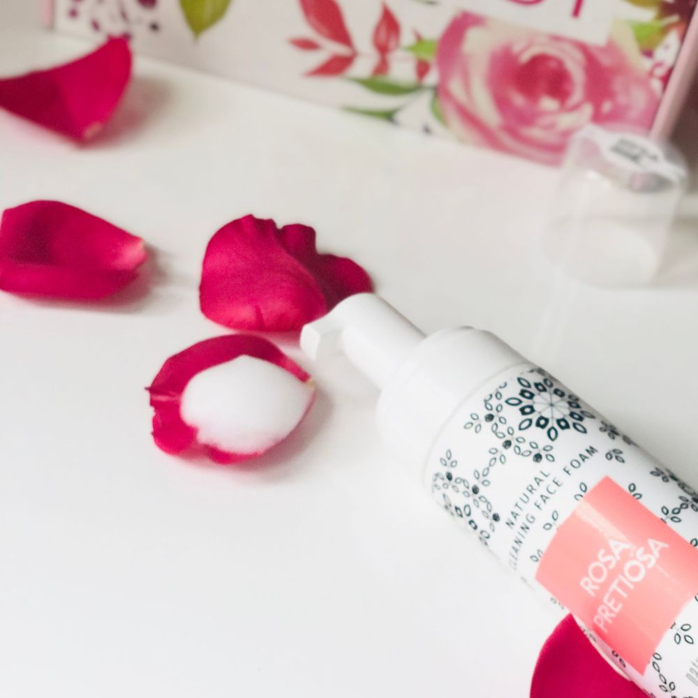 rose infused beauty, rose skincare, cleansing face foam, rosepost box, clean beauty