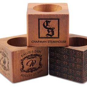 Wooden engraved napkin rings