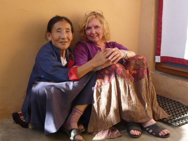 Linda with Tibetan friend in Bir, India 2008
