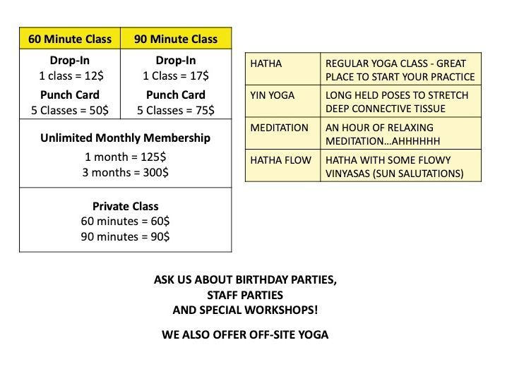 Yoga and Meditation Class Pricelist for Namaste Studio in Kapuskasing