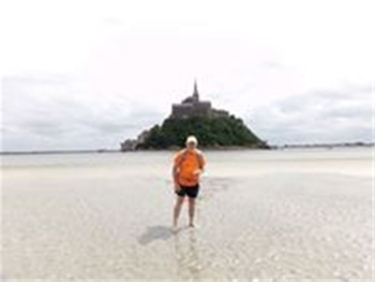 John on the final stages of his Pilgrimage walk to Mont St. Michel.