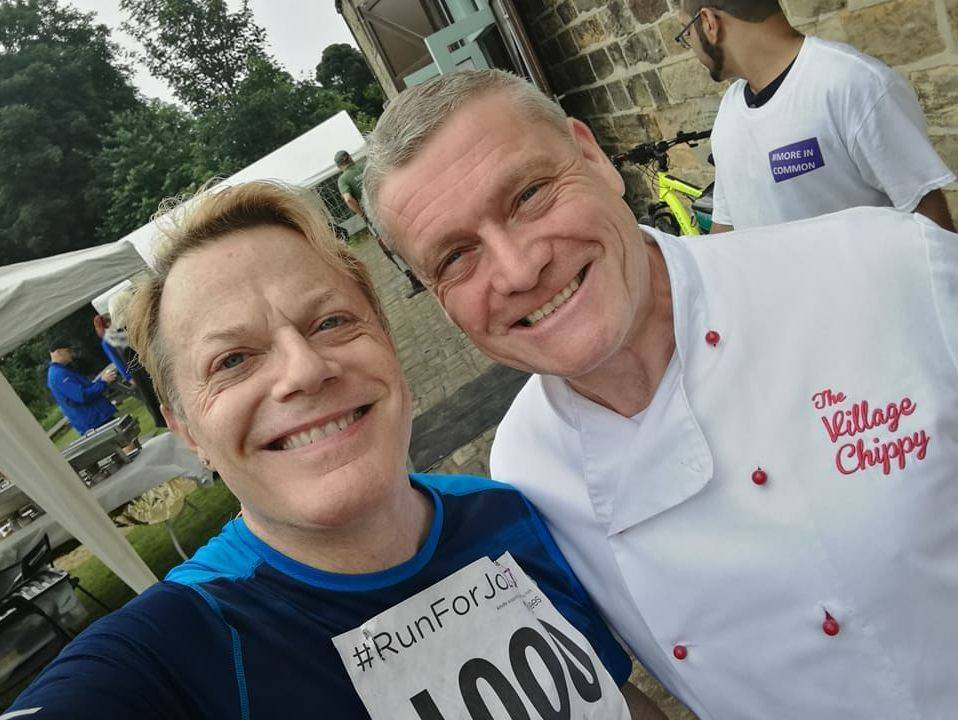 Owner Garry in his chef whites with the famous Eddie Izzard at a Jo Cox Charity Run.