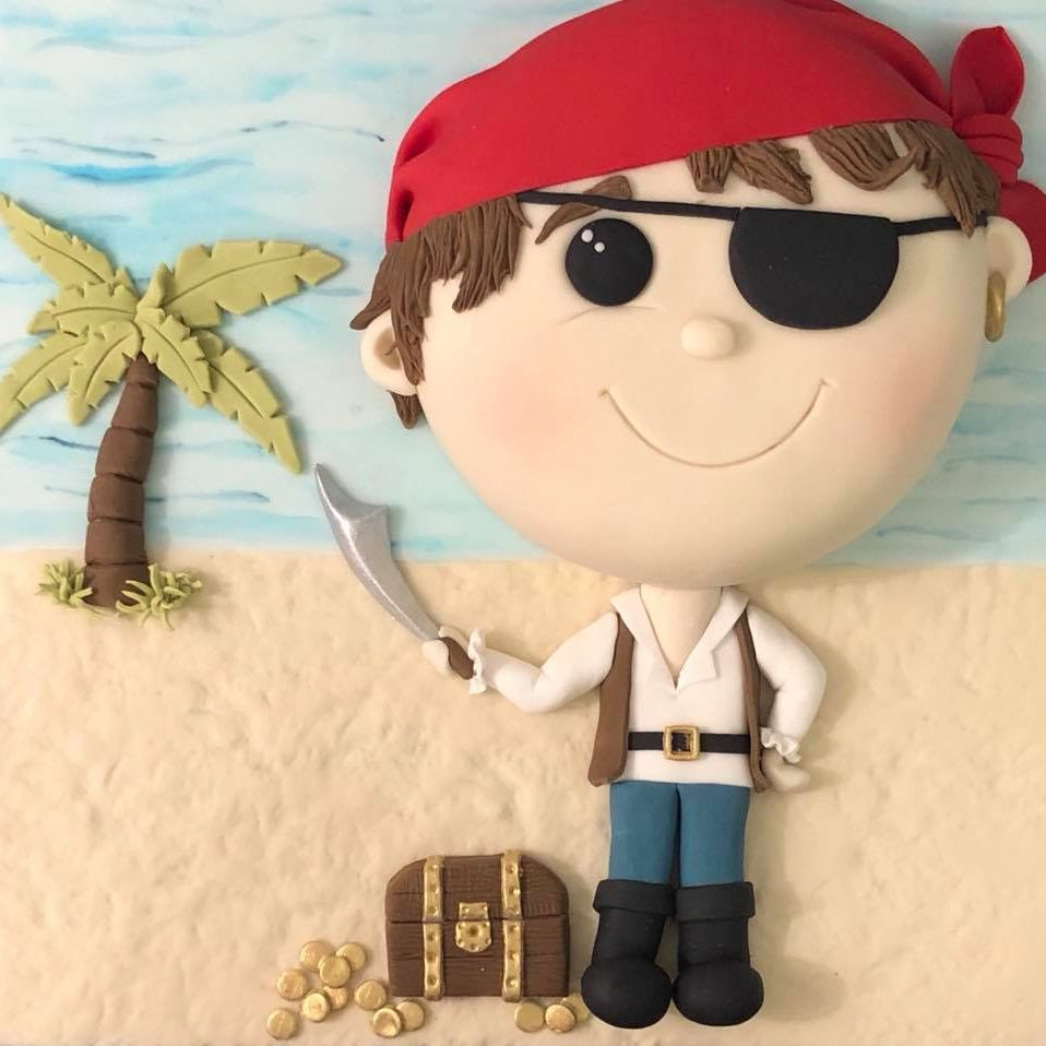Pirate Cake Treasure Chest Island Palm Tree