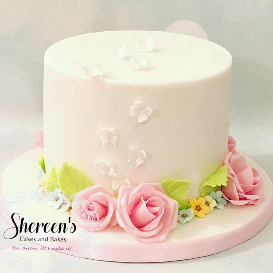 Pretty Birthday Cake Roses Butterflies Pink
