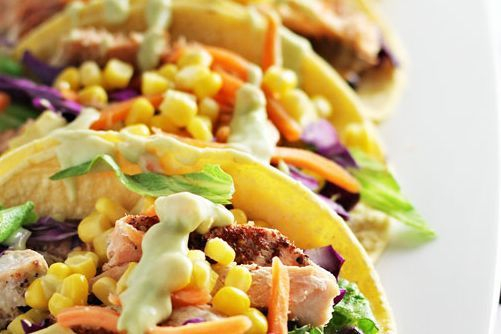 Chipotle salmon taco with lime avocado sauce