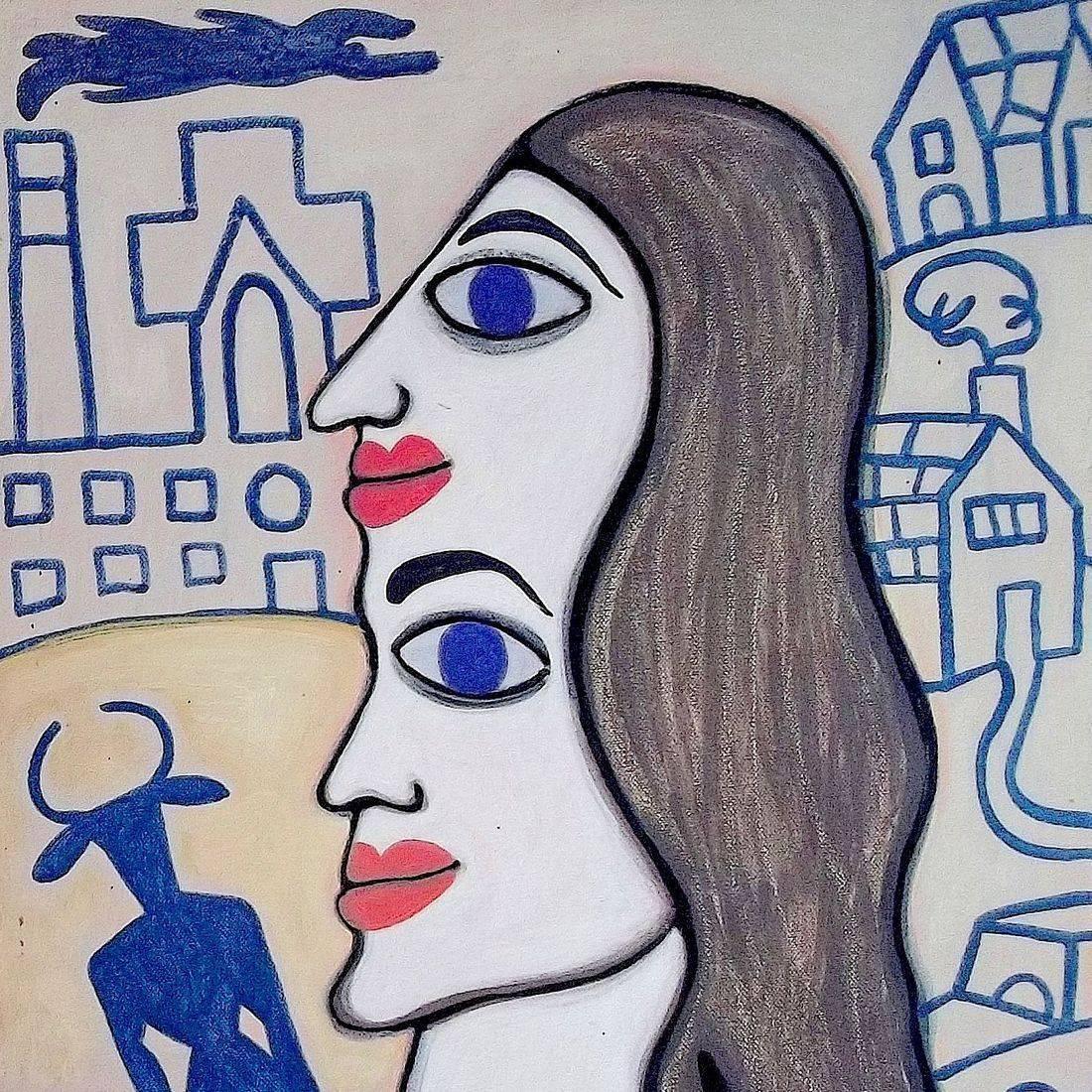 "Ashley and Julia Roberts, Acrylic on Canvas, 20"" x 18"""