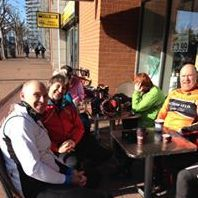 Eltham Velo Cycling Club Kent relax at Fratellis Diner London