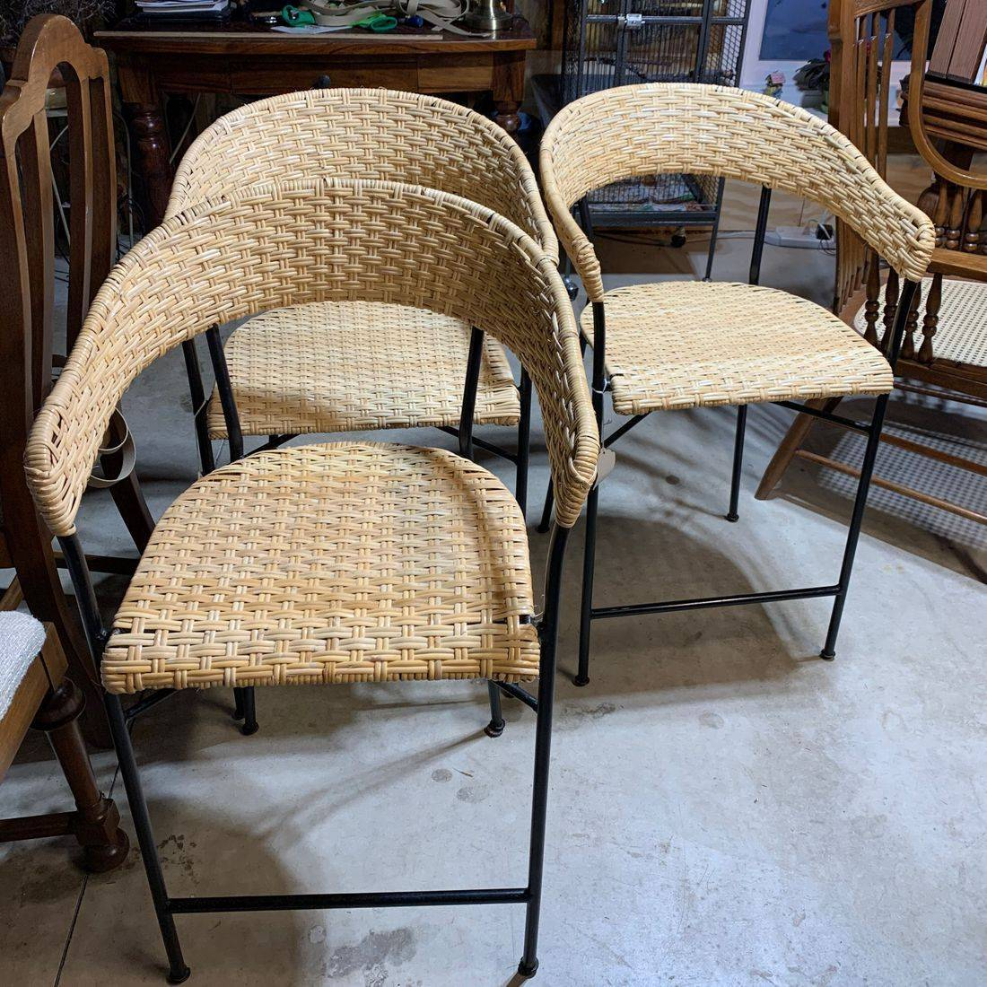 Wide Binder Cane on Bar Stools by Hank's Cane & Rush Restoration