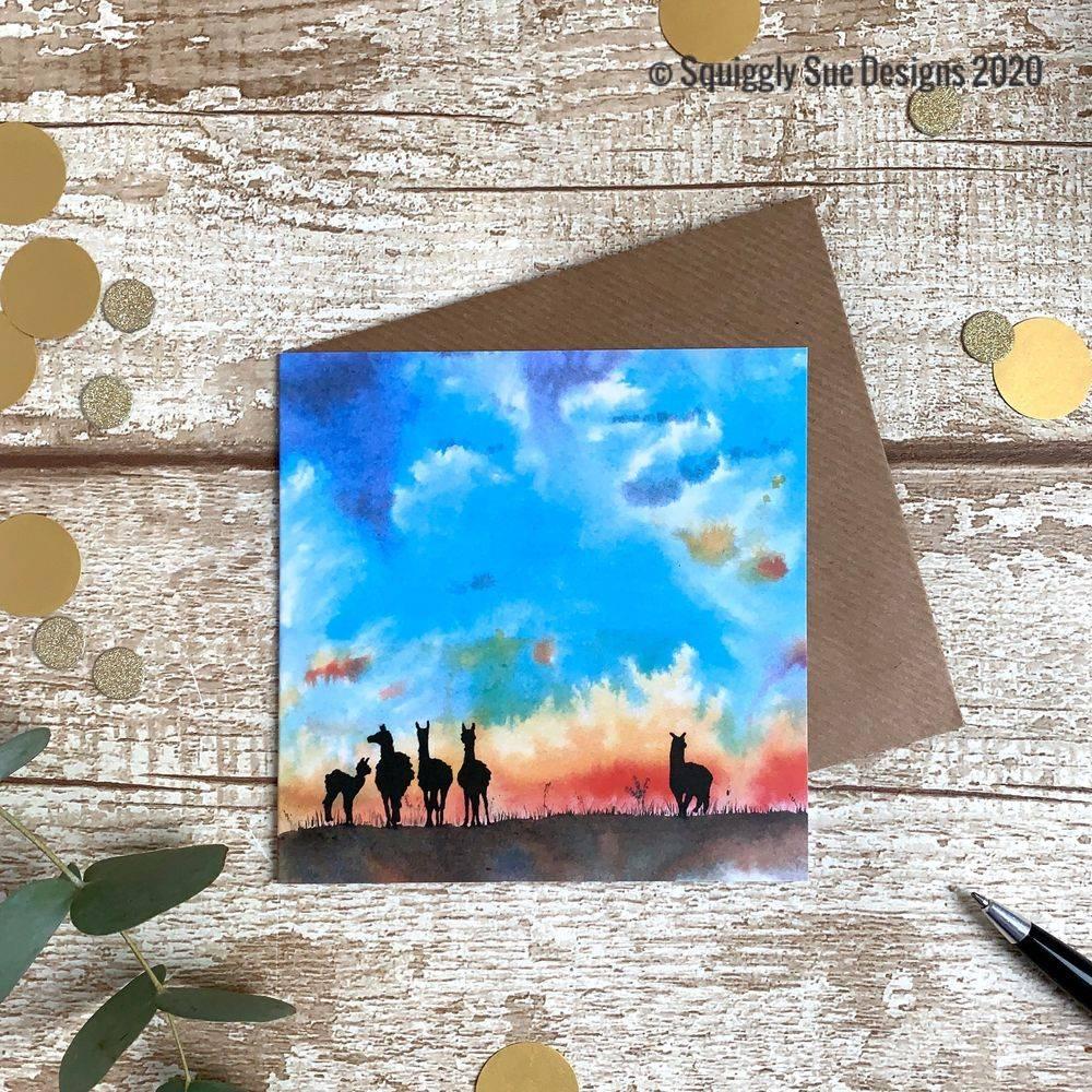 Alpacas Greetings Card Multicoloured Sunset