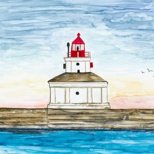 Port Colborne Lighthouse, By Barbara Polc, Alcohol Ink Painting; Lake Erie; Lighthouses