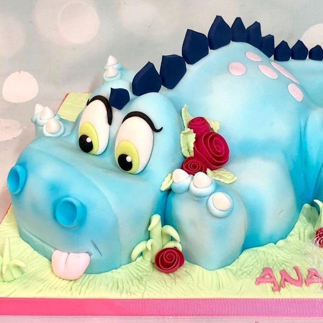 Birthday Cake Dinosaur Blue 3D Pretty Flowers