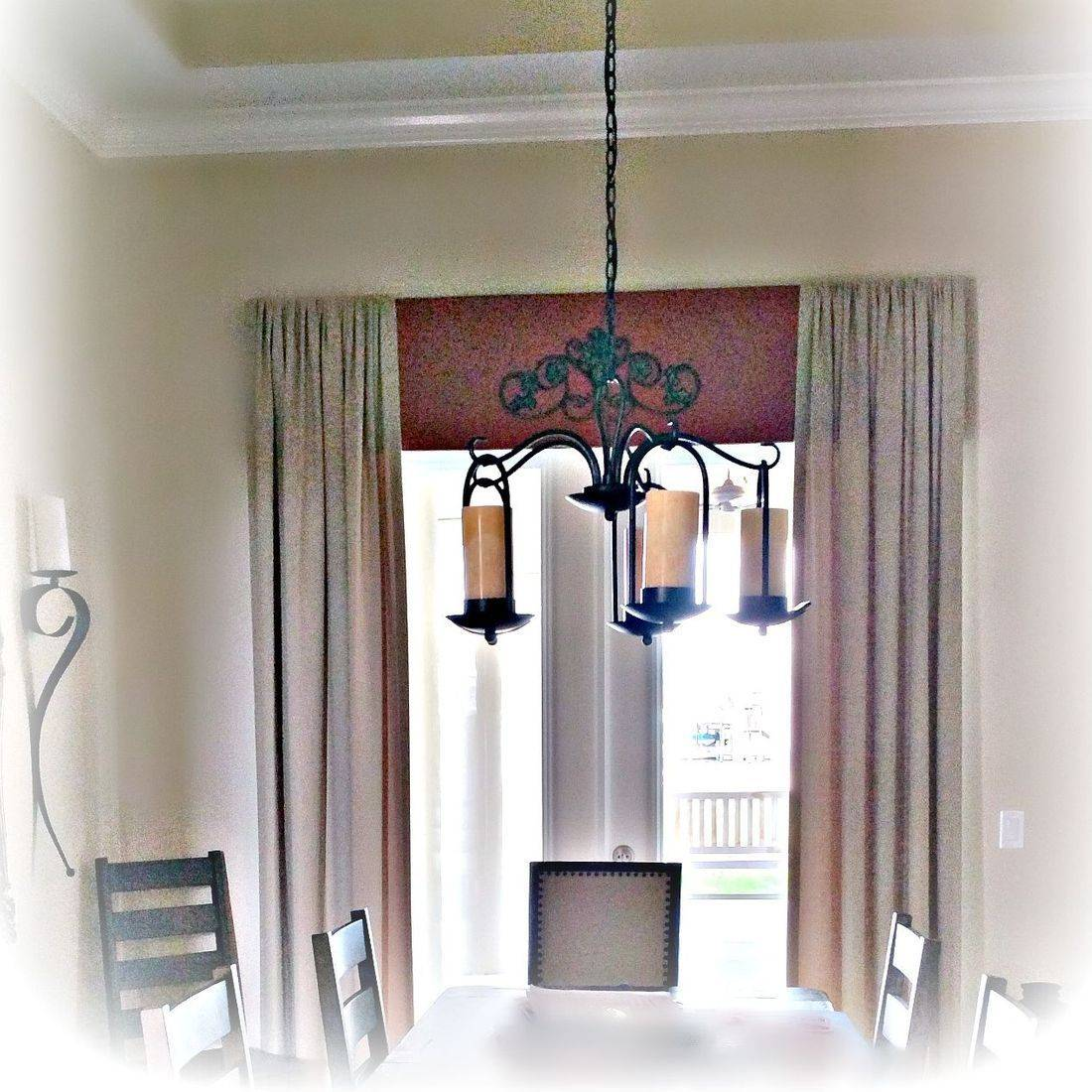 Triple Layered, Shaped Cornices with nailheads - Lakeland residence