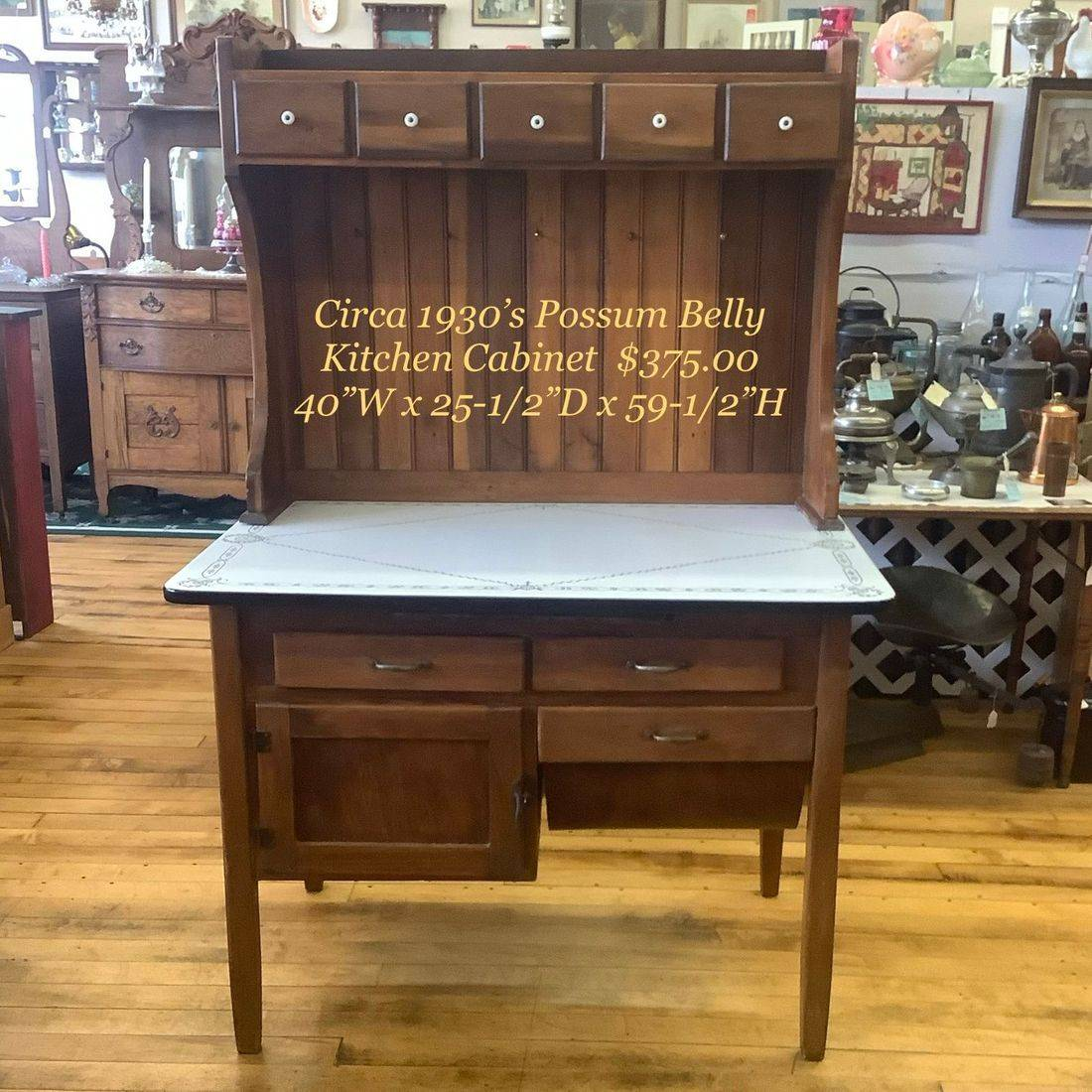 "Circa 1930's Possum Belly Enamel Top Kitchen Cabinet 40""W x 25-1/2""D x 59-1/2""Hgt.   $375.00"