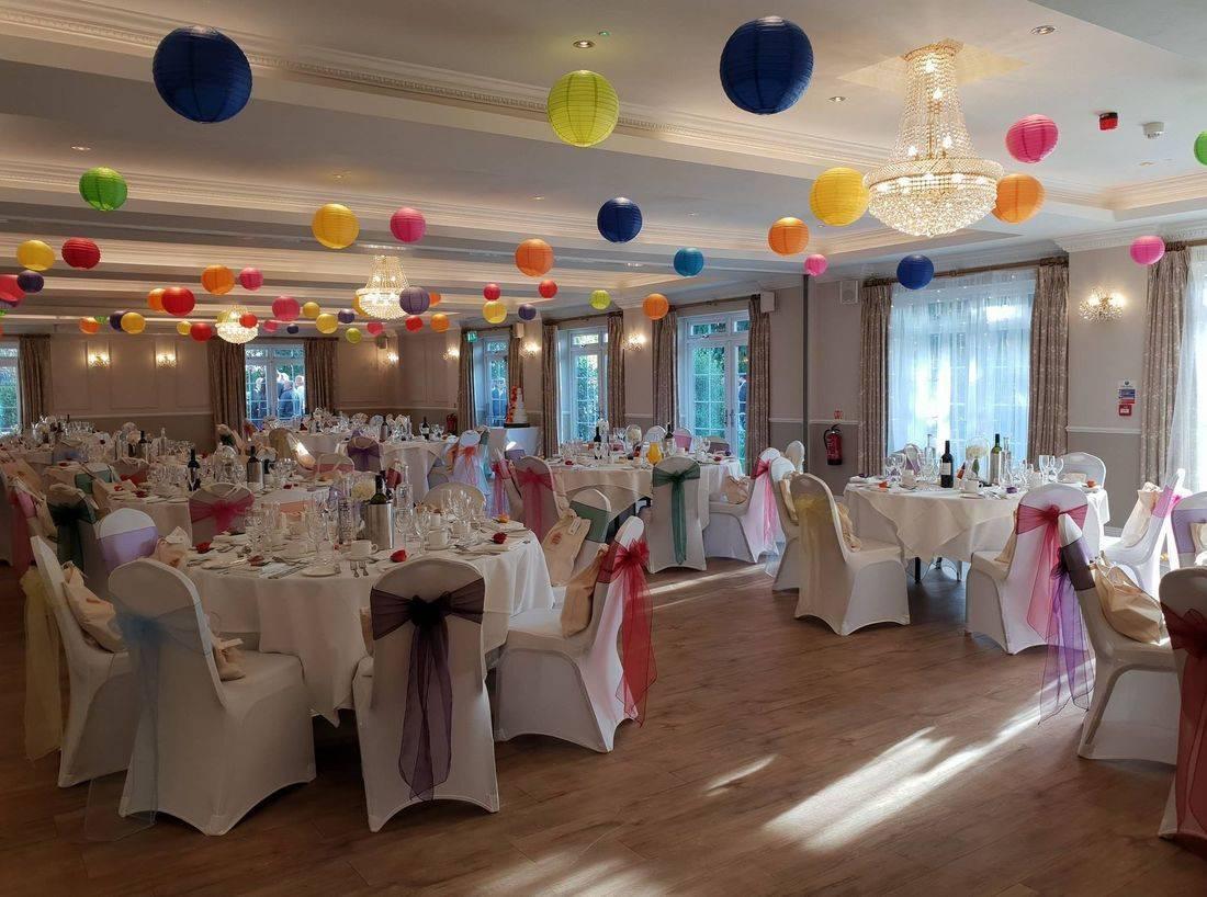 Multicolour wedding styling at Beaulieu Hotel