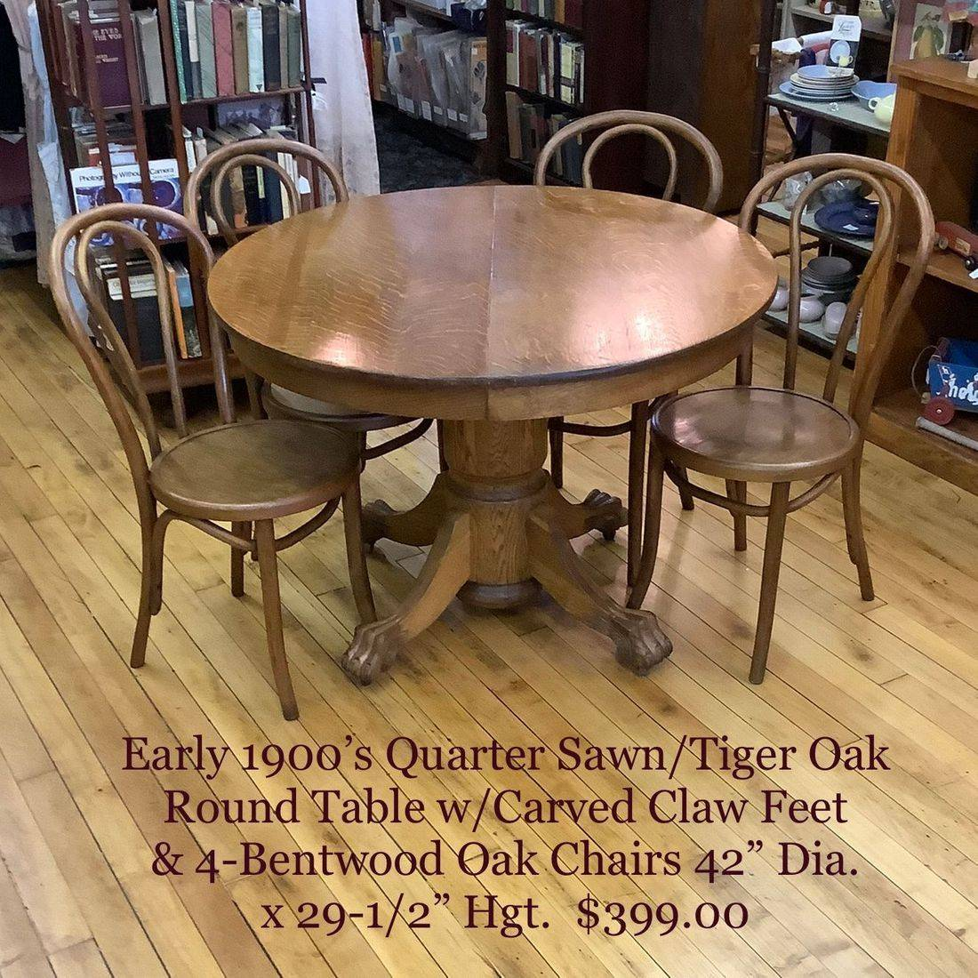 Early 1900's Quarter Sawn/Tiger Oak Round Table w/Carved Claw Feet & 4-Bentwood Oak Chairs   $399.00