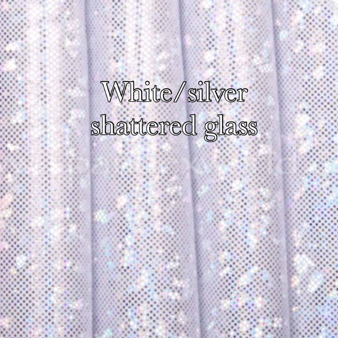 White silver shattered glass