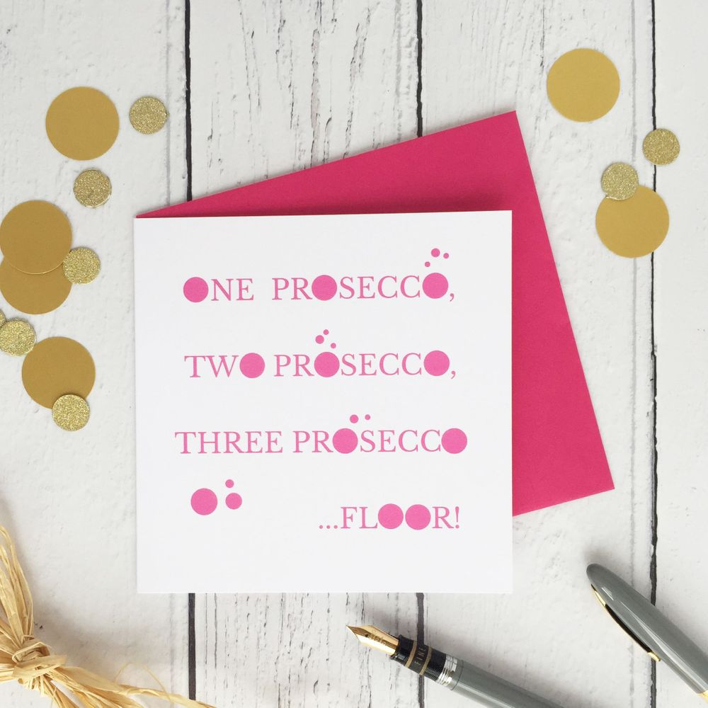 Birthday card prosecco lover funny cheeky