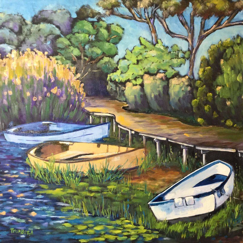 "ATrombretta - Oil - Row Row Row Your Boat - 24""x20"" - $400"